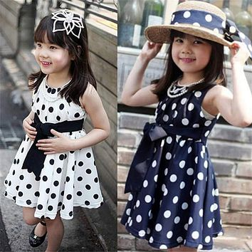 Girls dress summer dress 1PC Kids Children Clothing Polka Dot Girl Chiffon Sundress Dress high qualityl AP19