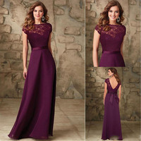 Hot sale bridesmaid dress 2016 cap sleeves backless floor length long plum chiffon lace bridesmaid dresses with detachable sash