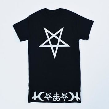 Tops and Tees T-Shirt Women T Shirt Crescent Moon Symbol Pentagram Unisex  Shirt Gothic Kawaii Hipster Satanic Inverted Cross Casual Top Tee AT_60_4 AT_60_4