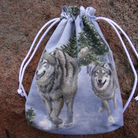 "Wolves Huskies Drawstring Pouch (Gift Herbal Utilities Shamanic) - 7.5""x5.5"""