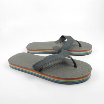 1980s Flip Flops Vintage Sandals Rainbow Stripe Foam 80s Eighties Thick