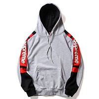 Supreme autumn and winter new tide brand hooded men and women long-sleeved pullover sweater grey