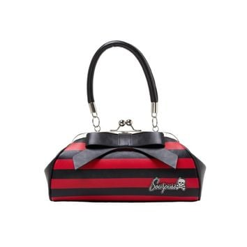 """Add a pop of color to any outfit with our Black and Red Striped Floozy Purse! This vintage-inspired, vinyl purse features a 7"""" vinyl bow across the one side, kiss-lock closure, """"Sourpuss"""" hardware, sturdy handles, circular metal feet & leopard print satin"""