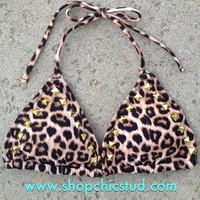Studded Bikini TOP - Swimwear - Leopard Print - Gold, Silver, or Black Studs -