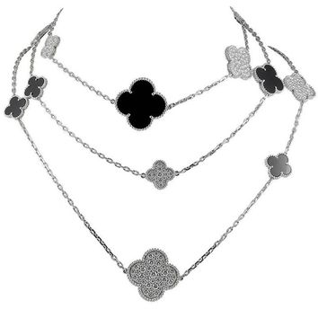 Van Cleef & Arpels Diamond, Onyx Alhambra Necklace