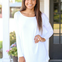 Long Sleeve Piko Top - White