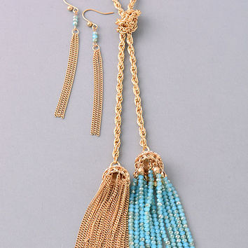 Double Down Tassel Necklace: Blue