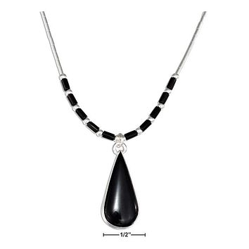 "STERLING SILVER 16"" LIQUID SILVER SIMULATED ONYX TEARDROP NECKLACE WITH HEISHI"