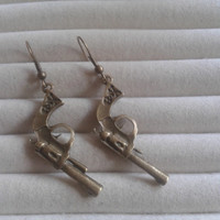 bronze gun  dangle earrings