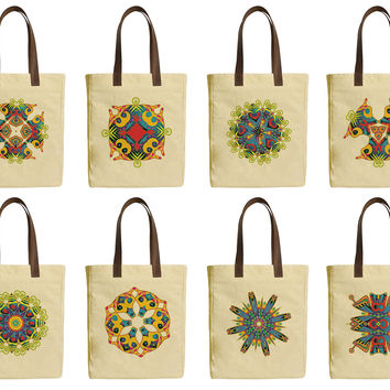 Ornament Embellishment Beige Printed Canvas Tote Bags Leather Handles WAS_30
