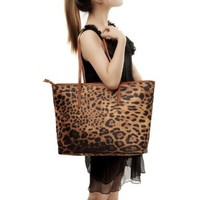 MG Collection Gil Leopard Oversized Bucket Shopper Shoulder Bag, Brown, One Size