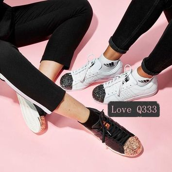 adidas Originals Black Superstar 80S Trainers With Rose Gold 3D Metal Toe Cap Sneakers Sport Shoes
