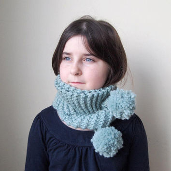 SALE, ONLY 1 LEFT, knitted sea green wool & acrylic blend, long scarf with pompoms