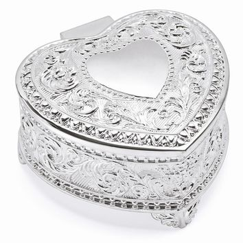 Silver-plated Hinged Heart Jewelry Box - Engravable Personalized Gift Item