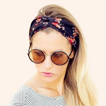 DKLW8 Women Vintage Headband Floral Wide Stretch Hair Band Yoga Elastic Turban Floral Twisted Knotted Headband Hair Accessories