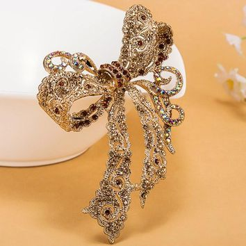 Very Kawaii Bow Rhinestone Wedding Brooches collar Women Party Broach Perfect Women's Gold Brooch Hijab Pins Woman Bags Bijoux