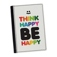Think Happy High Quality PU Faux Leather Passport Cover by textGuy