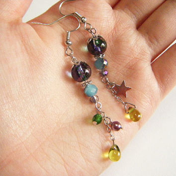 Green earrings, asymmetrical green and violet dangle earrings, asymmetrical earrings, handmade jewelry, green and violet earrings, handmade.