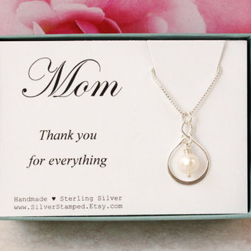 Gift for Mother from Bride or Groom Thank you for everything sterling silver infinity pearl necklace wedding party gift for mom