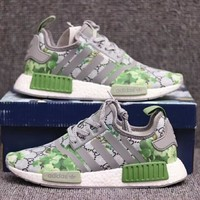 Gucci x Adidas NMD Fashion Women Men Leisure GG Green Flower Print Sport Running Shoe Sneakers I