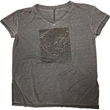 Calvin Klein Jeans Cap Sleeve V Neck T Shirt In Marble Grey