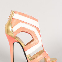 Tricolor Leatherette Cut Out Open Toe Heel