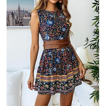 Summer Hot Sale Women Casual Floral Print Sleeveless Round Collar Zipper Dress Navy Blue