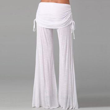 High Waist White Wide Leg Pants Trousers Casual Wear Oversize Pantalon Femme Harem Pants Trousers For Women Sexy Women's Pants