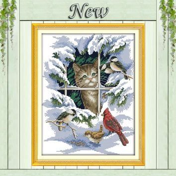 14CT 11CT DMC hand made cross stitch kits,snow scenery winter Cat and birds Needlework embroidery Cross Stitch sets Home Decor