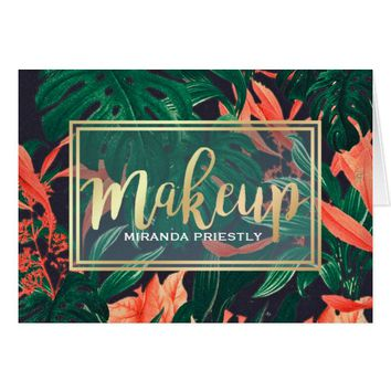 Makeup Beauty Salon Tropical Floral & Gold Script Card