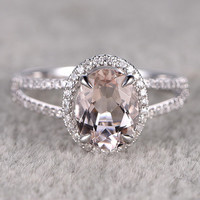 6x8mm Morganite Engagement ring White gold,Diamond wedding band,14k,Oval Cut,Gemstone Promise Bridal Ring,Claw Prongs,Pave Set,Handmade