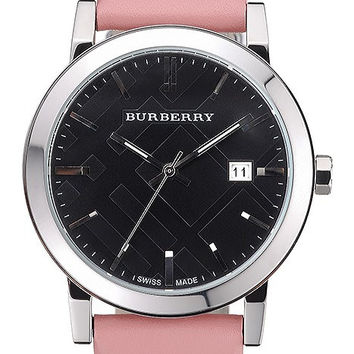 Burberry The City Classic Black Dial Pink Bracelet 622561
