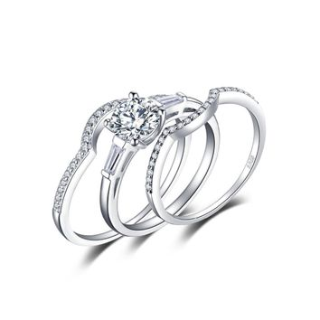 JewelryPalace 1.5ct 3 Stones 3 Pcs Anniversary Wedding Band  Engagement Ring Bridal Sets 925 Sterling Silver