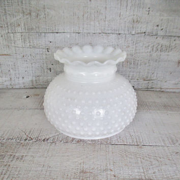Hobnail Milk Glass Lamp Shades Glass Lampshade Large Milk Glass Hurricane Shade Glass Light Globe Antique Light Fixture Shade