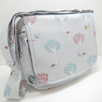 Gray Diaper Bag, Messenger Bag, Crossbody Bag, Woodland Print, Ready to Ship