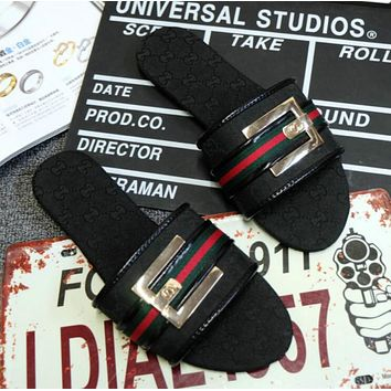 GUCCI Popular Summer New Style Women Stripe Bowknot Metal Buckle Denim Print Flat Slippers Sandals Shoes Black