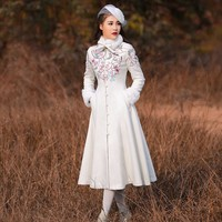High Quality Brand Women 's Winter Coat Chinese Style Retro Embroidery Rabbit Hair Collar Long Sleeve Wool Blend Dress Outerwear