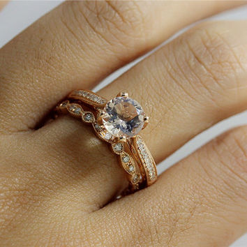 Wedding Ring Set 6.5mm Fancy Morganite Engagement Ring and Petite Diamond Half Eternity Wedding Band14K Gold