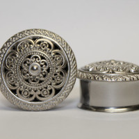Bright Silver Tribal Plugs, gauges  1 inch, 1 1/8