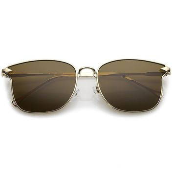 Modern Metal Square Sunglasses With Flat Lenses And Slim Hook Arms 55mm
