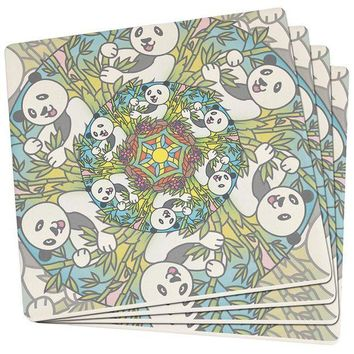PEAPGQ9 Mandala Trippy Stained Glass Panda Set of 4 Square SandsTone Art Coasters