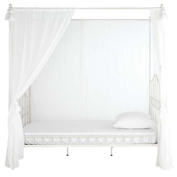 Metal 90 x 190cm child's four-poster bed in ivory | Maisons du Monde