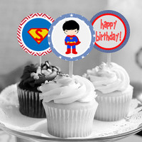 """Superman - Superhero - Download 2.25"""" Cupcake Toppers, Printable Birthday Party Gift Tags, Toppers, Boy Girl Stickers, Favor"""