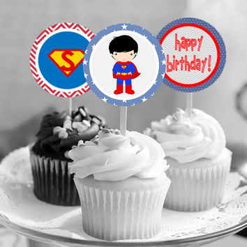 "Superman - Superhero - Download 2.25"" Cupcake Toppers, Printable Birthday Party Gift Tags, Toppers, Boy Girl Stickers, Favor"