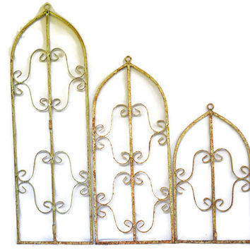 Vintage Metal Wall Art, Rustic Wall Hanging Sculpture, Large Outdoor Wall Hanging Metal Set