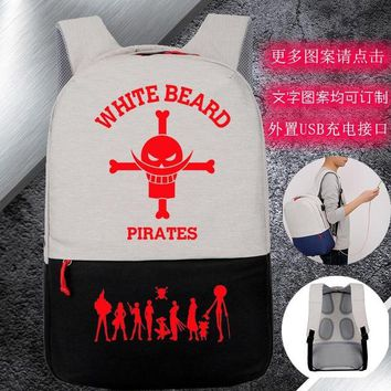 Anime Backpack School New Usb charging kawaii cute One Piece Luffy Cosplay Backpack Long White Beard Joe Lu Spansion Student Bag Computer Bag Men Women bag AT_60_4