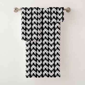 Black and white tribal style pattern bath towel set