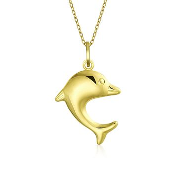 14K Yellow REAL Gold Nautical Dolphin Pendant Necklace Men Gold Chain