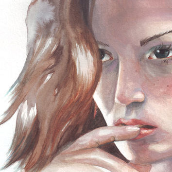 Original watercolor painting portrait art of Woman with red hair