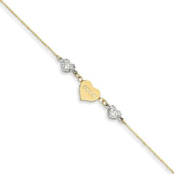 14kt Yellow Gold 9 Inch Two Tone Love Puffed Heart Charm Ankle Bracelet